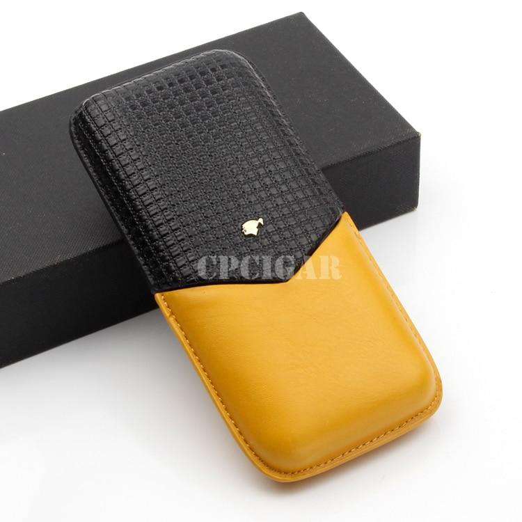 COHIBA Soft Genuine Leather Cigar Case Holder Portable Travel 3 Cigars Cohiba Cases Tube Jar Leather Cigars Accessories Gift Box