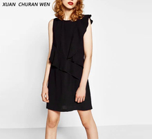 Women Sexy Ruffles Dress Mini Sleeveless Black Dress Vestido Office Ladies Wear Slim Elegant O-Neck Party Dress XZ0881