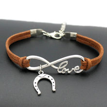 1pcs infinity handmade Women Stylish Horseshoe Charms Bracelets Horse Hoof Leather Bracelet Friendship Gift 7373(China)