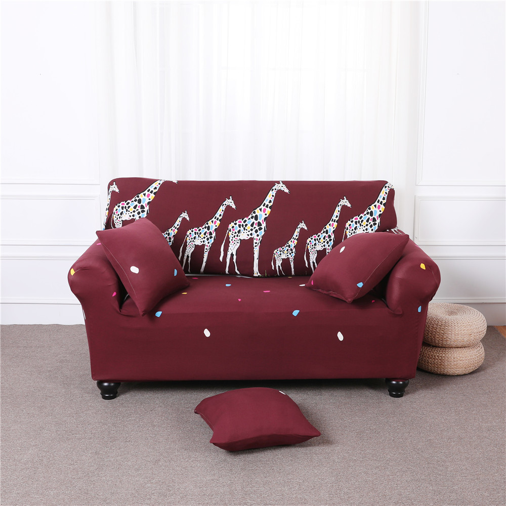 White red Giraffe Pattern Furniture Protector Sofa Stretch Tightly Wrap All-Inclusive Slip-Resistant Sofa Covers For Living Room image