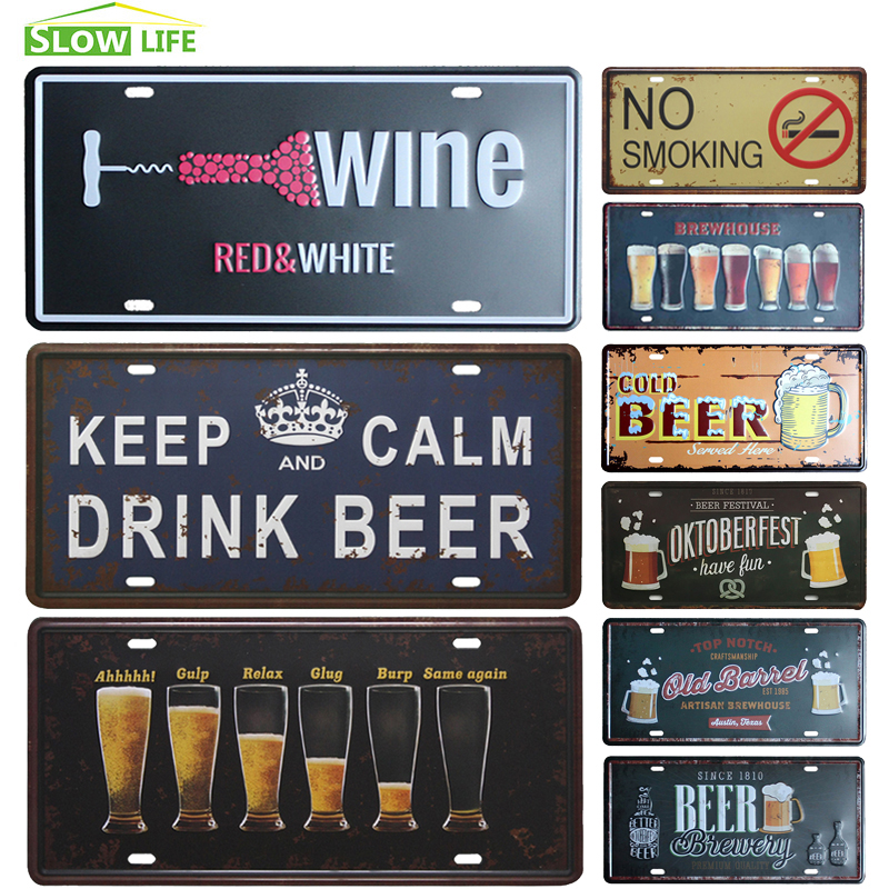 Boisson bière processus voiture métal Plaque d'immatriculation Vintage décor à la maison étain signe Bar Pub Garage décoratif métal signe Art peinture Plaque