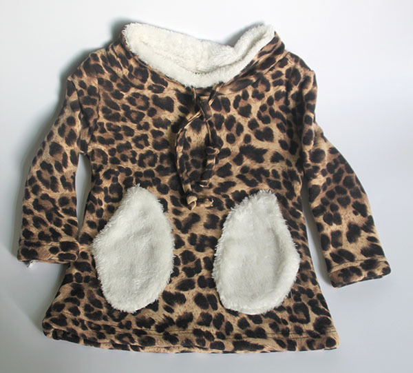 Wholesale(5pcs/lot)- 2016 winter thicken Leopard  pocket base shirt sweatshirt for child girl