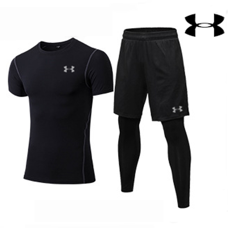 Newest Under Armour Training Jacket Men Black Running Sets Gym fitness clothing Male 2 pieces Short Sleeve jacket+pantsNewest Under Armour Training Jacket Men Black Running Sets Gym fitness clothing Male 2 pieces Short Sleeve jacket+pants