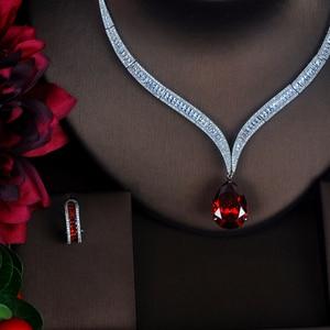 Image 3 - HIBRIDE Luxury Red Water Drop Cubic Zirconia Women Jewelry Sets Necklace Set Wedding Bride Dress Accessories Party Show N 372