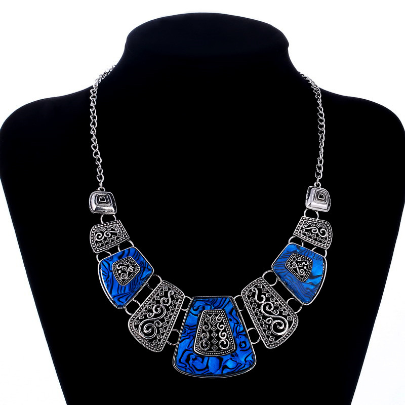 ZOSHI Collares Necklace Women Enamel Geometric Necklaces & Pendants Vintage Gold/Silver Choker Statement Necklace Collier Femme