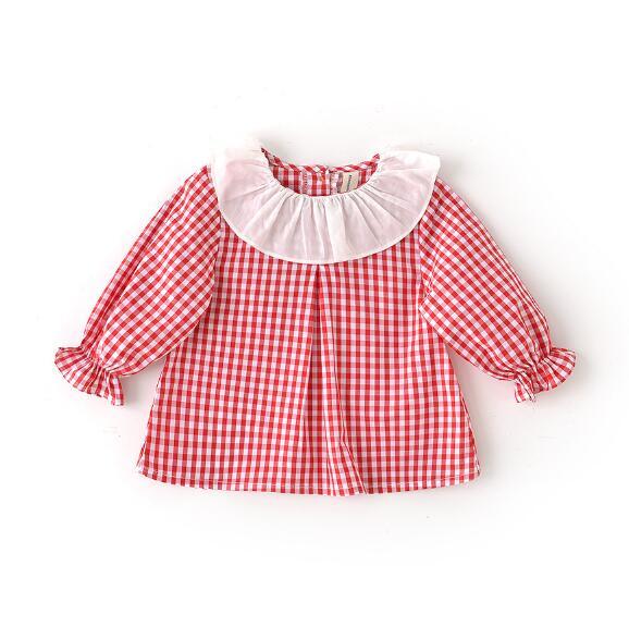 4 Teile/los Baby Mädchen Shirts Kinder Kinder Kleidung Langarm Rüschen Plaid Tops Mädchen Bluse Shirt 0-3 T Sylvia 563523805604