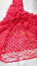 5yards xx044# big red sequin embroidery elastic french mesh tulle lace for wedding/evening dress/party,by dhl