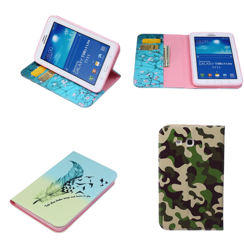 BF Print Fashion case for samsung galaxy tab 3 Lite 7.0 SM-T110 T111 T116 tablet cover Cute Cartoon Camouflage Flower cases