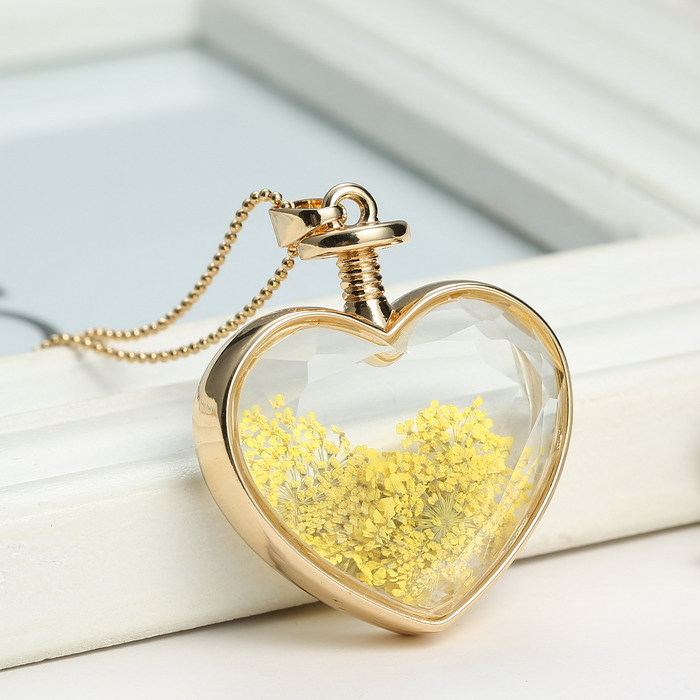 Yellow dried flower heart locket necklaces gold chain necklace for yellow dried flower heart locket necklaces gold chain necklace for women transparent heart glass necklaces pendant in pendant necklaces from jewelry mozeypictures Image collections