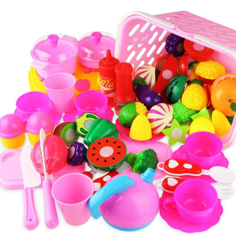 49pcs DIY Pretend Play Children Kitchen Toys Plastic Food Fruit Vegetable Cutting Toy Kids Doll House Educational Kits Toy Gift