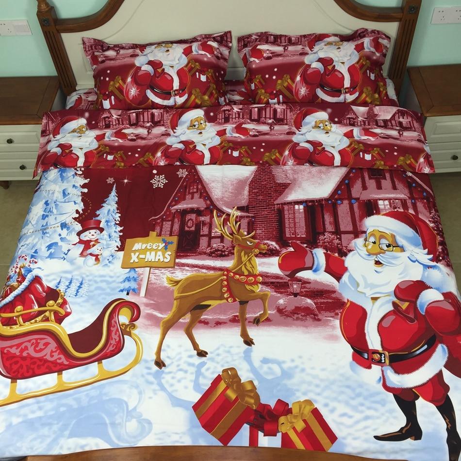 4pcs Christmas Comforter Set Twin/full 3d Bedding Sets Bed In A Bag Sheet  100