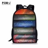 FORUDESIGNS Schoolbag for Teenager Girls Cartoon Harry Potter Book Prints Black School Bags Backpacks Kids Harajuku School Bags