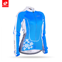 NUCKILY Women's Winter Cycling Jacket Wholesale Fleece Thermal Blue Bicycle Jersey Bike Clothing GE004