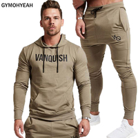GYMOHYEAH New Fashion Men Set Long Sleeve Hoodies+Pants Set Male Tracksuit Outdoors Suit Men's Gyms Set Casual Sportswear Suit