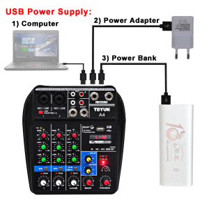 Image 2 - A4 48V Phantom Power 2 Mono 1 Stereo USB Play USB Record Computer Playback Computer Record Bluetooth Mini Audio Mixer