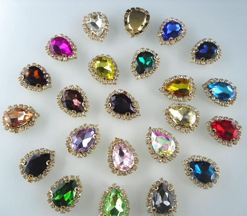 Aliexpress Com Buy 1440pcs Gold Bottom Crystal Clear: Bottom Hole Teardrop 13x18mm Glass Crystal Around Clear