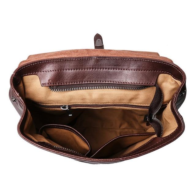 Nesitu High Quality Vintage A4 Brown Coffee Vagetable Tanned Genuine Leather Women Men Backpacks Real Skin Travel Bags M9019
