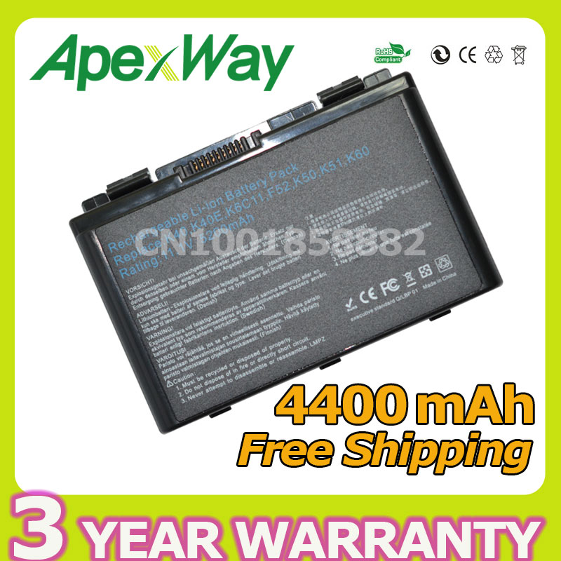 Apexway 4400mAh 6 cells battery for Asus k50ij k50ab a32 f82 k50id k42j F52 F82 K50 K40 K40E K51 K60 K70 A32-F52 A32-F82 все цены
