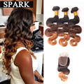 7A Ombre Brazilian Hair Lace Frontal Closure with Bundles Ombre Weave Wet and Wavy Brazilian Body Wave With Frontal Closure BW
