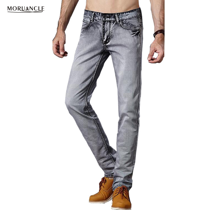 MORUANCLE Fashion Me's Gray Jeans Pants Slim Fit Straight Denim Joggers Male Stone Washed Jean Trousers 2017 Spring Size28-38 потолочный светильник ideal lux caesar pl5 cromo 103792