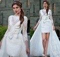 Alto Baixo 2 em 1 em Relação a Saia de Renda Vestidos de Casamento 3/4 mangas Trem Destacável vestido de noiva Duas Peças Vestidos de Noiva Bateau