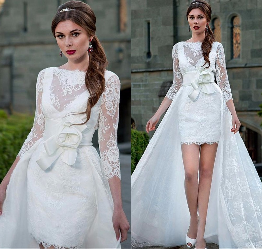 Buy high low 2 in 1 over skirt lace for Wedding dresses 2 in 1