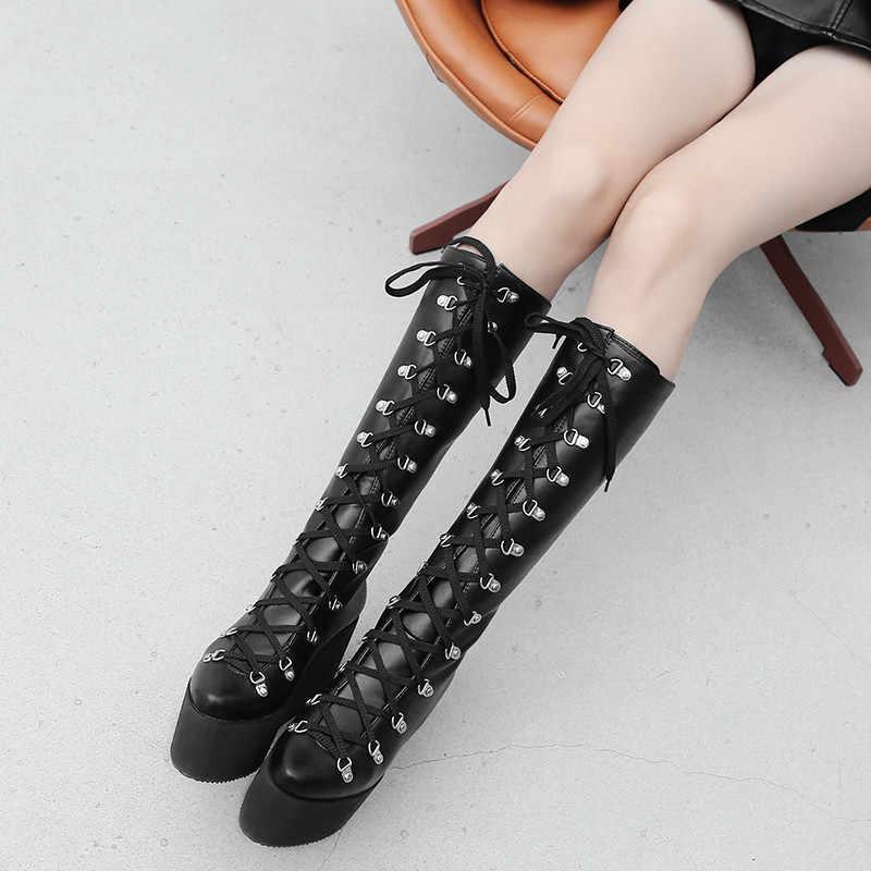 YMECHIC 2018 แฟชั่นลูกไม้ขึ้น Punk รองเท้าผู้หญิง Wedges แพลตฟอร์ม Gothic รองเท้า Plus ขนาดเข่ายาวทหาร Combat Boots ผู้หญิง