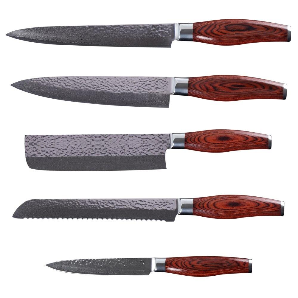 Haute Qualité Japonais VG10 Damas Couteau En Acier 5 pcs Ensemble Double Tête En Acier Rosewood Poignée Damas Couteau Meilleur Cuisine Couteaux