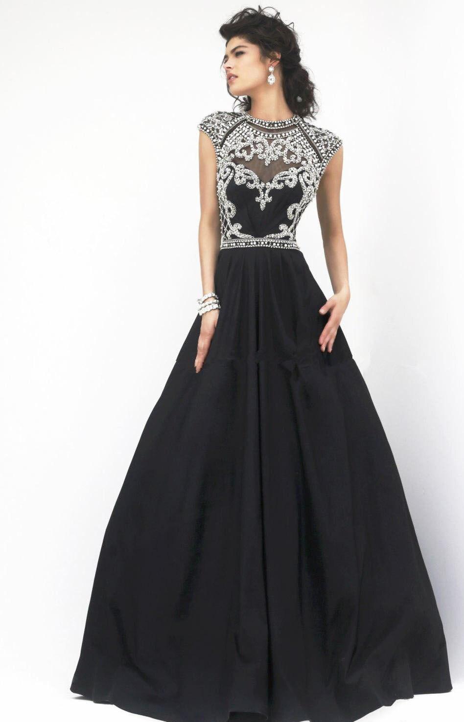 2014 Fashion Taffeta Short Sleeve Prom Dress High Neck Elegant ...