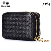 Genuine Sheepskin Leather RFID Card Wallet Double Zipper Women Wallet RFID Blocking Credit Card Holder Coin