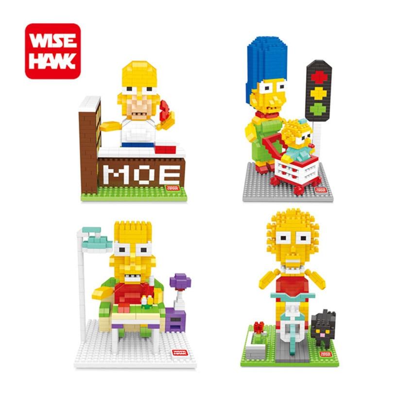 WiseHawk Nanoblocks Simpsons Family DIY Cartoon Model Homer Marge Bart Lisa Scenes Action Figure Micro Brick Child Intellect Toy