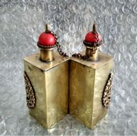 3.15 inch / Brass dragon twins snuff bottles in ancient China