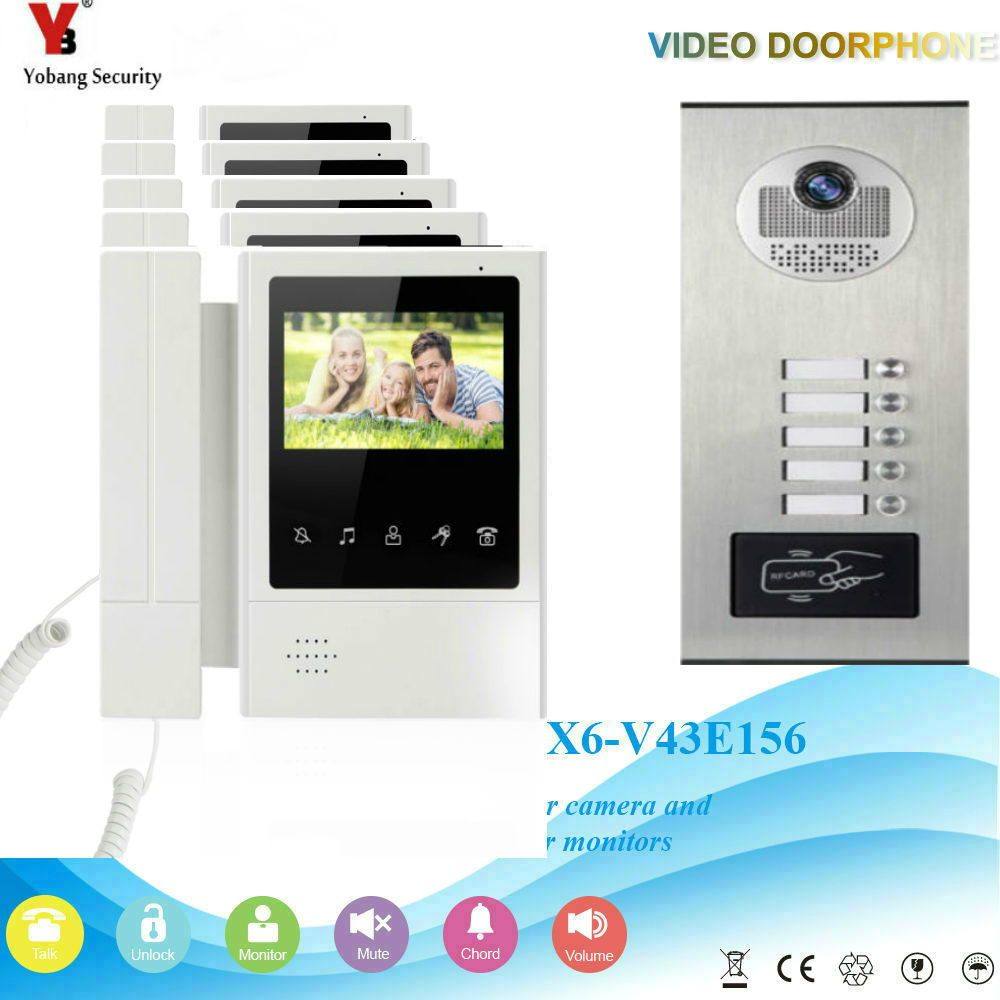 YobangSecurity 4.3 Inch Color Video Door Phone Doorbell Camera Entry Intercom System RFID Access Control For 5 Unit Apartment