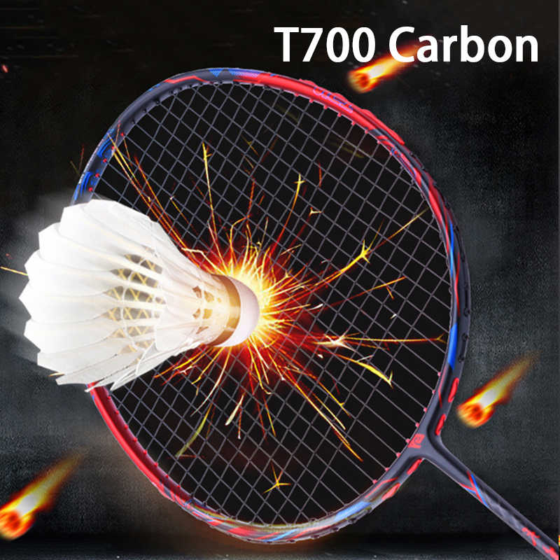 Professional T700 Carbon Fiber Badminton Racket Strung Super Light 4U Max 32lbs Offensive Type Rakcets With Bags String Racquet
