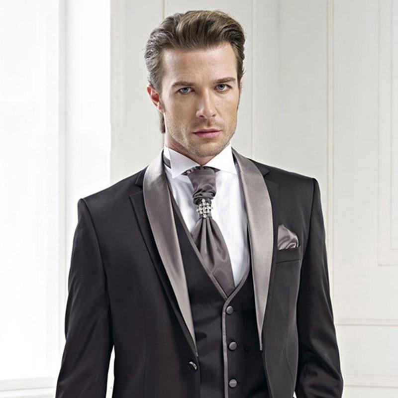 2017 Custom Made terno masculino New grey Groom Tuxedos Vintage Party men suit Groomsman Mens Suits ( jacket+Pants+vest+tie)