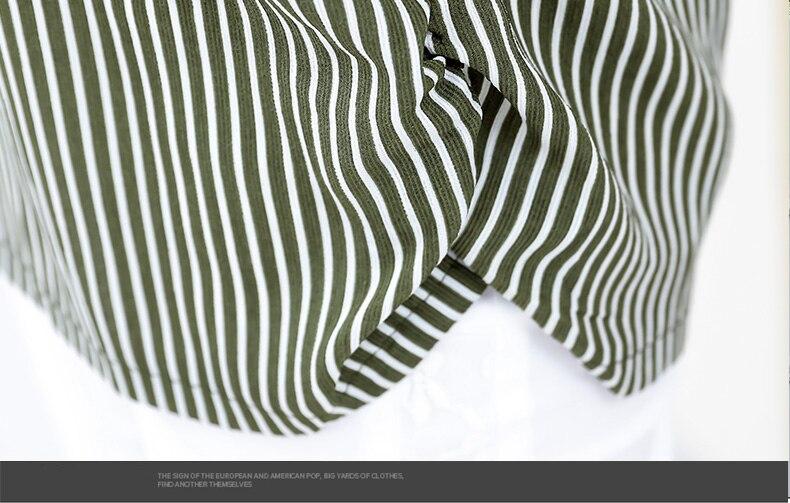 Women Casual Shirts Vertical Stripe Blouses Woman Three Quater Sleeve Top Mother Leisure Shirt Green Black Khaki Stripes Blouse (19)