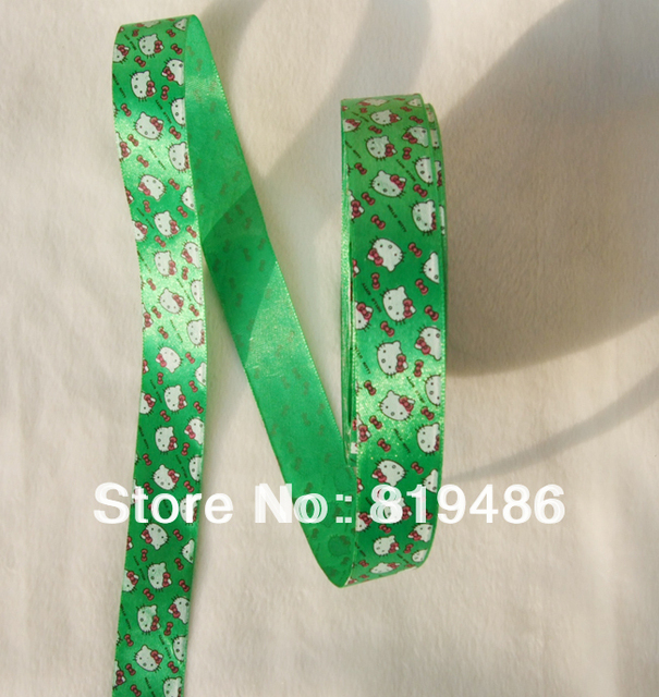 Free Shipping 5yards Lot 1inch Width Cute Hello Kitty Print On Dark Green Bottom Satin