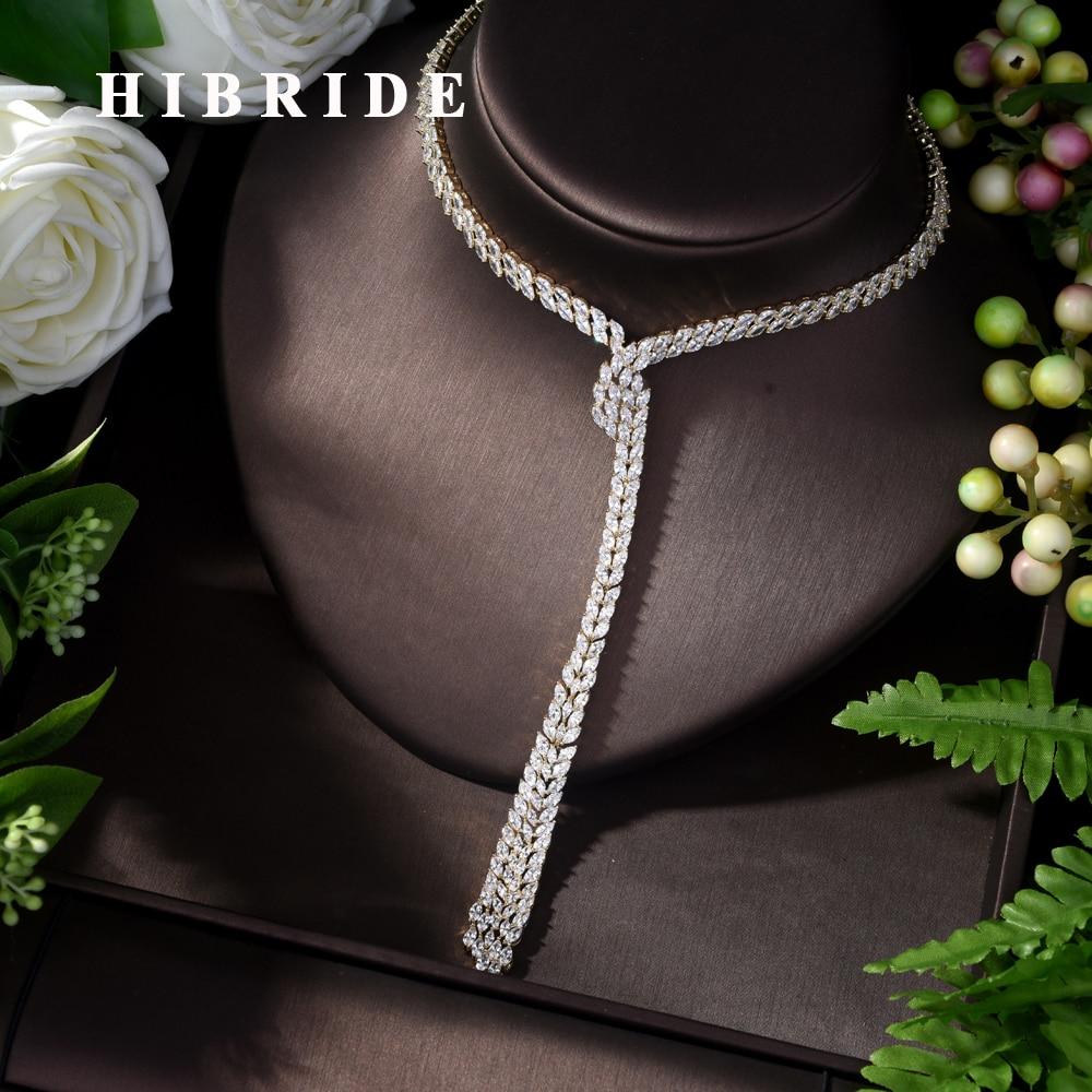 HIBRIDE de luxe AAA cubique Zircon collier femmes fille pendentif collier femmes de mariage de mariée Dubai argent fête cadeaux N-302