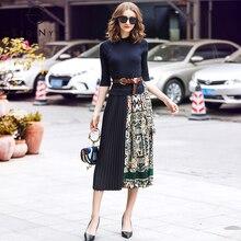 SEQINYY миди платье 2019 на лето и весну модные дизайнерские Для женщин Высокое качество Половина рукава Вязание сращены драпированные повседневные платья