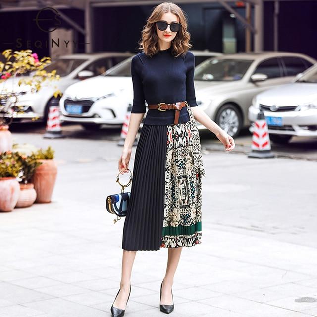 SEQINYY Midi Kleid 2019 Sommer Frühling Mode Design Frauen Hohe Qualität Halbe Hülse Stricken Gespleißt Drapierte Casual Kleid
