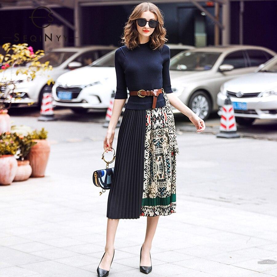 SEQINYY Midi Robe 2019 D'été Printemps Design De Mode Femmes Haute Qualité Demi Manches À Tricoter Spliced Drapé Casual Robe
