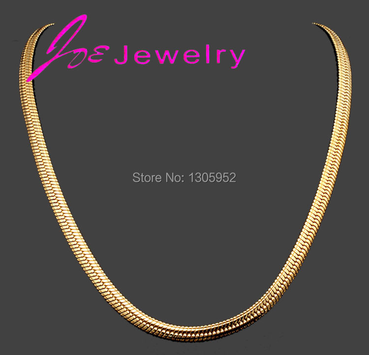 Fashion Simple Design Gold color Flat Curb Chain Necklaces for ...