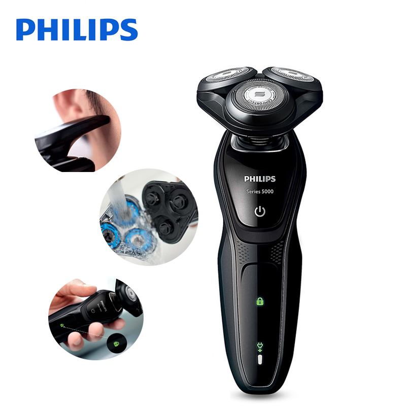Philips Electric Shaver S5079 Rotary Rechargeable Body Wash Electric Razor With Comfortable Shaving System For Men's philips electric shaver s330 rechargeable and waterproof design for men s flexible veneer system with retail package