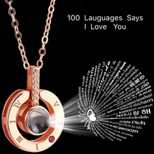 Подарок на День святого Валентина для подруги, круглая форма сердца, 100 язык, Проецирование I Love You, ожерелье, любовь, память, свадьба