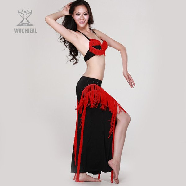 810a7ca5c3c28 QC2032 August Newest Sexy Preformance Belly Dance Costume 2Pcs(Bra+Skirt)  ,Professional Belly Dance Set,Black Red Color