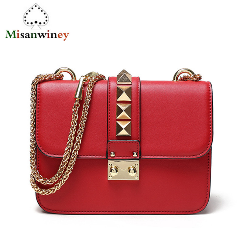 Hottest 2018 Luxury Fashion Trend Leather Women Messenger Bags Gold Rivets Chain Flap Shoulder Bag Solid Color Handbag Sac Bolsa