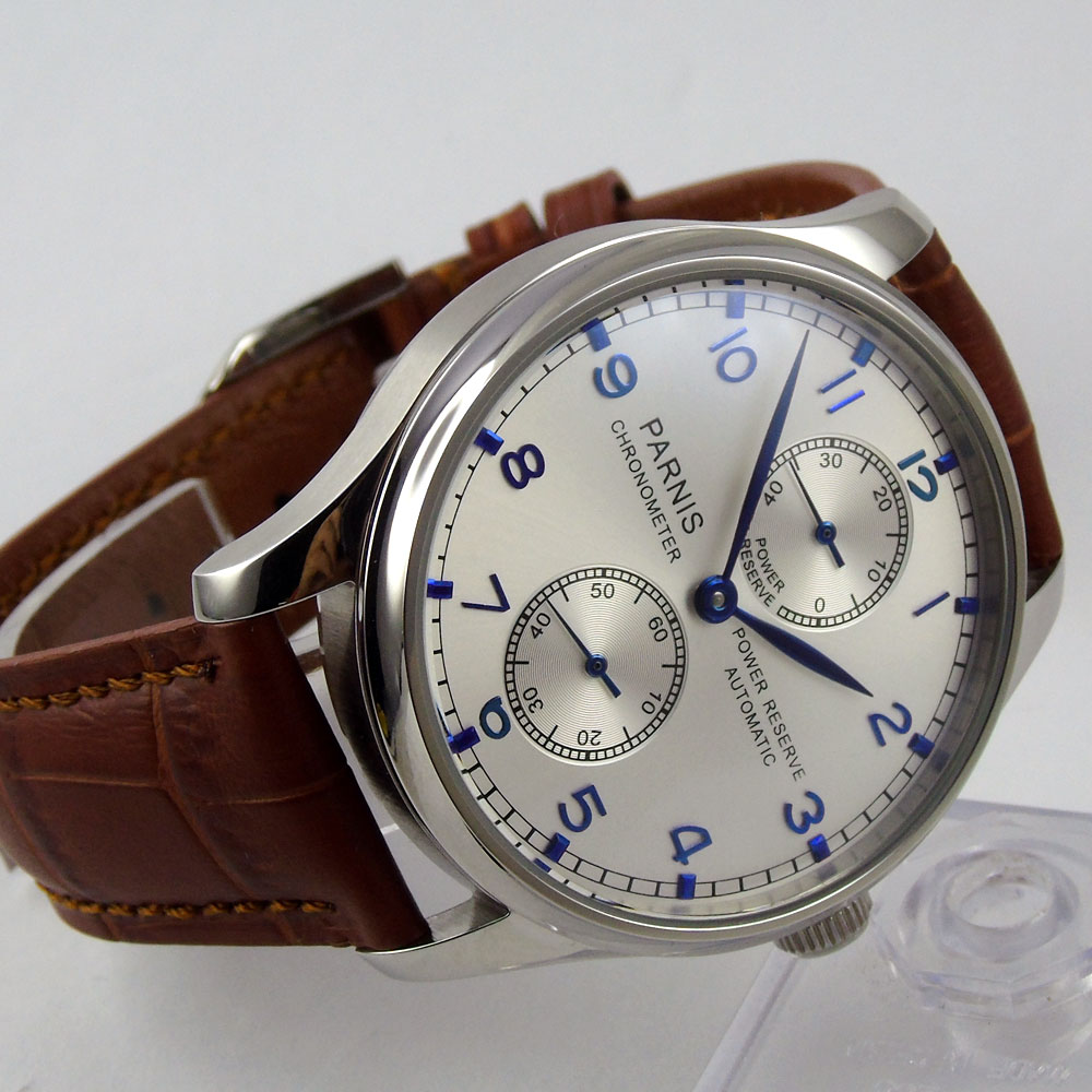 New 43mm parnis silver White dial Power Reserve Chronograph Blue Marks SS Case Seagull 2542 Automatic Mechanical men's Watch hot sale 46mm parnis black dial power reserve white marks automatic men wrist watch