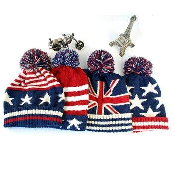 Las mujeres de los hombres de invierno Pom Bola de tapa Casual Unisex EE.  UU. Bandera Americana sombrero bandera británica sombrero gorros cd892e627dd