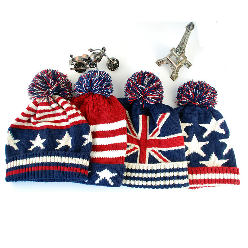 Women Men Winter Pom Poms ball Knitted Cap Unisex Casual USA American flag   Beanies   Hat British flag   Skullies     Beanie   hat Gorros