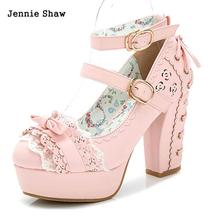Sweet high heels lolita shoes princess lace bow shoes female thick heel platform shoes sys-1166